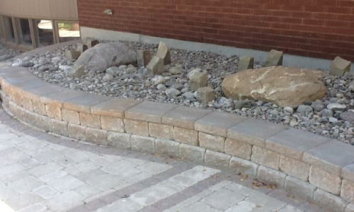 Retaining Wall with River stones